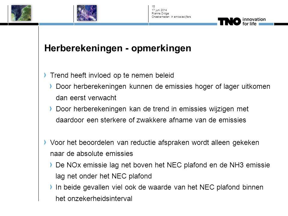 Herberekeningen - opmerkingen Trend heeft invloed op te nemen beleid Door herberekeningen kunnen de emissies hoger of lager uitkomen dan eerst verwacht Door herberekeningen kan de trend in emissies wijzigen met daardoor een sterkere of zwakkere afname van de emissies Voor het beoordelen van reductie afspraken wordt alleen gekeken naar de absolute emissies De NOx emissie lag net boven het NEC plafond en de NH3 emissie lag net onder het NEC plafond In beide gevallen viel ook de waarde van het NEC plafond binnen het onzekerheidsinterval 17 juni 2014 Rianne Dröge Onzekerheden in emissiecijfers 15