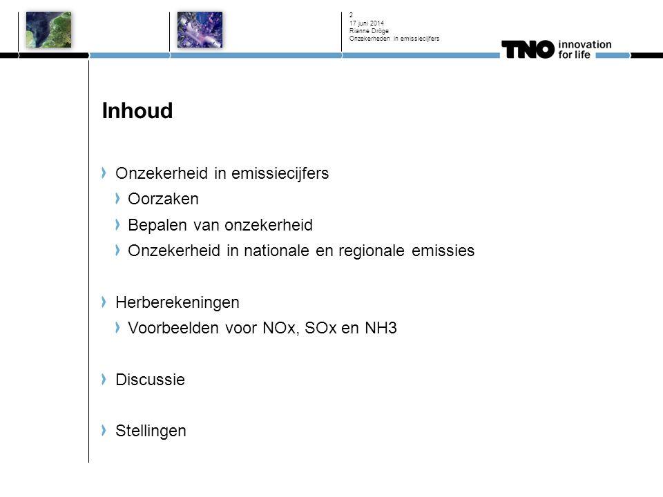 Inhoud Onzekerheid in emissiecijfers Oorzaken Bepalen van onzekerheid Onzekerheid in nationale en regionale emissies Herberekeningen Voorbeelden voor