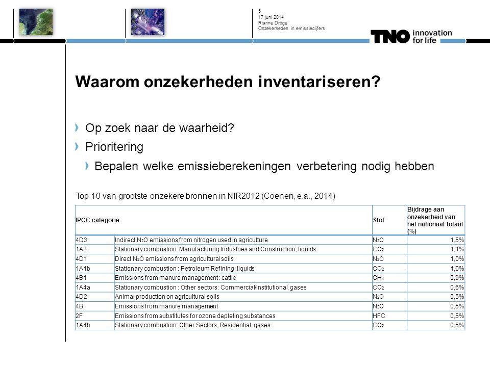 Waarom onzekerheden inventariseren? Op zoek naar de waarheid? Prioritering Bepalen welke emissieberekeningen verbetering nodig hebben 17 juni 2014 Ria