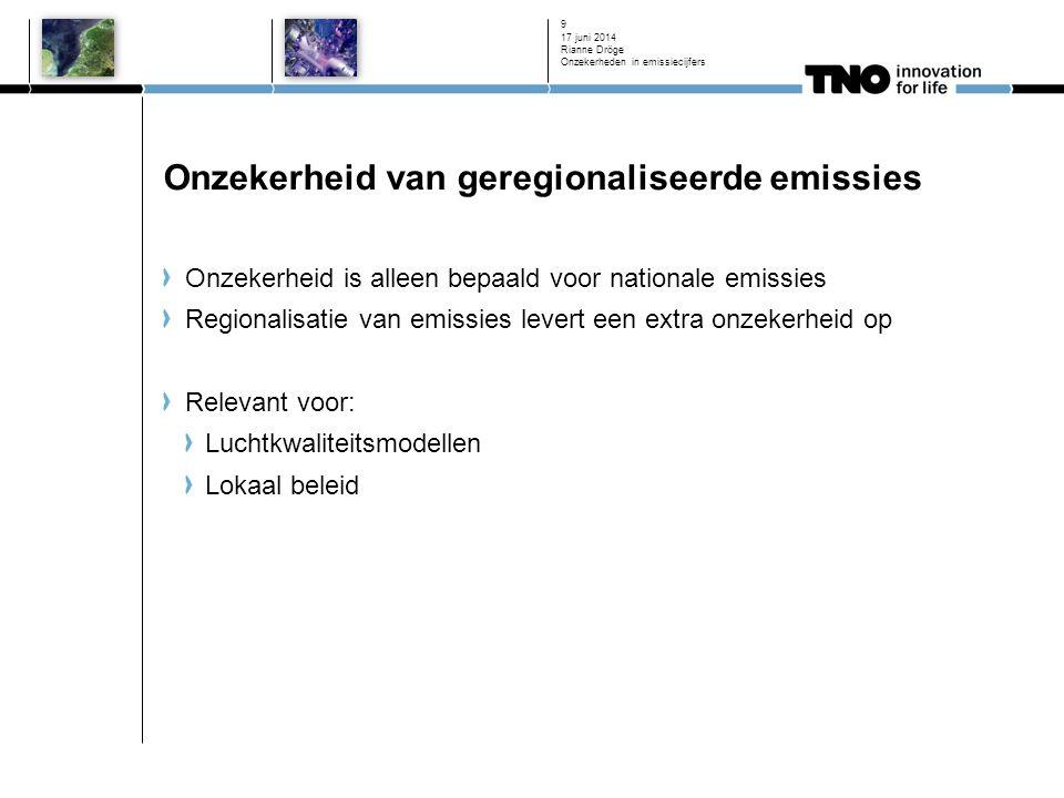 Onzekerheid van geregionaliseerde emissies Onzekerheid is alleen bepaald voor nationale emissies Regionalisatie van emissies levert een extra onzekerh