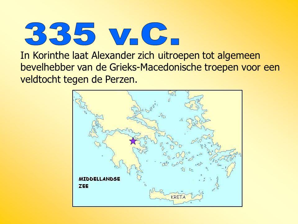 In Korinthe laat Alexander zich uitroepen tot algemeen bevelhebber van de Grieks-Macedonische troepen voor een veldtocht tegen de Perzen.