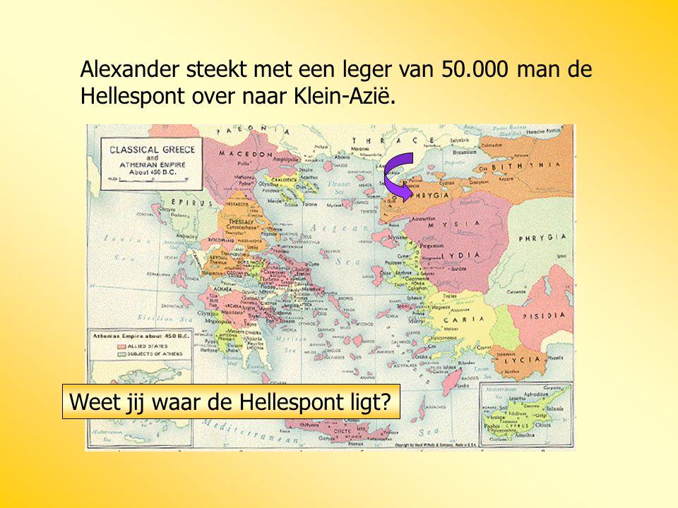 Alexander steekt met een leger van 50.000 man de Hellespont over naar Klein-Azië. Weet jij waar de Hellespont ligt?