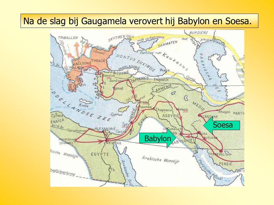 Na de slag bij Gaugamela verovert hij Babylon en Soesa. Babylon Soesa