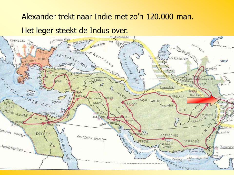 Alexander trekt naar Indië met zo'n 120.000 man. Het leger steekt de Indus over.