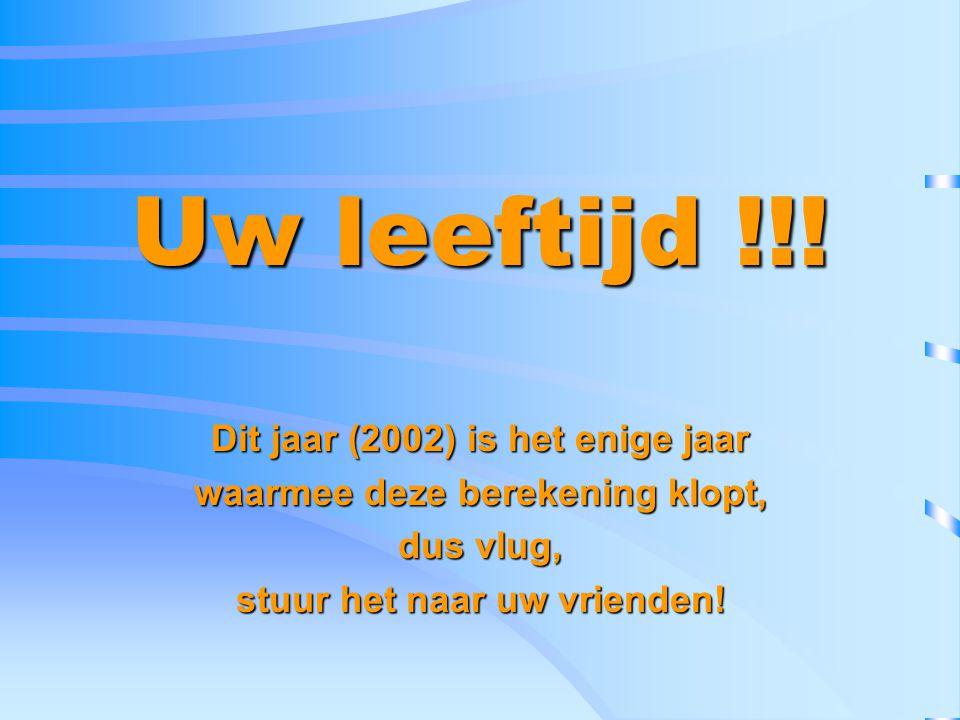 Uw leeftijd !!! Dit jaar (2002) is het enige jaar waarmee deze berekening klopt, dus vlug, stuur het naar uw vrienden!