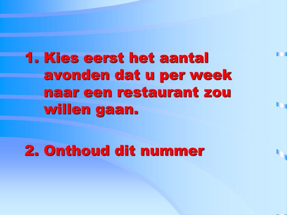 1.Kies eerst het aantal avonden dat u per week naar een restaurant zou willen gaan. 2.Onthoud dit nummer