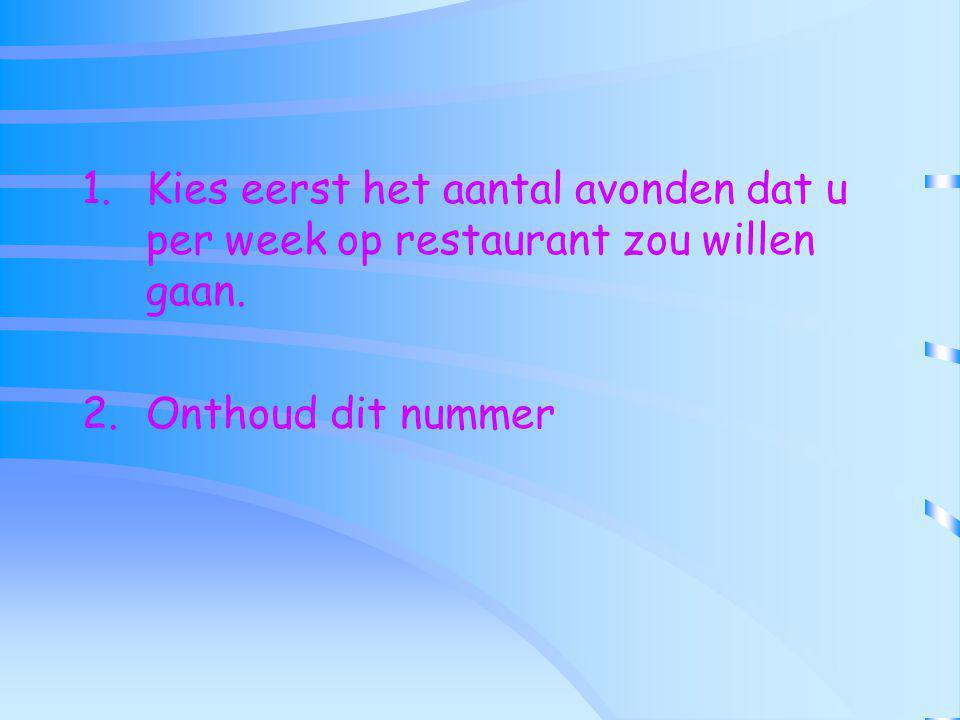 1.Kies eerst het aantal avonden dat u per week op restaurant zou willen gaan. 2.Onthoud dit nummer
