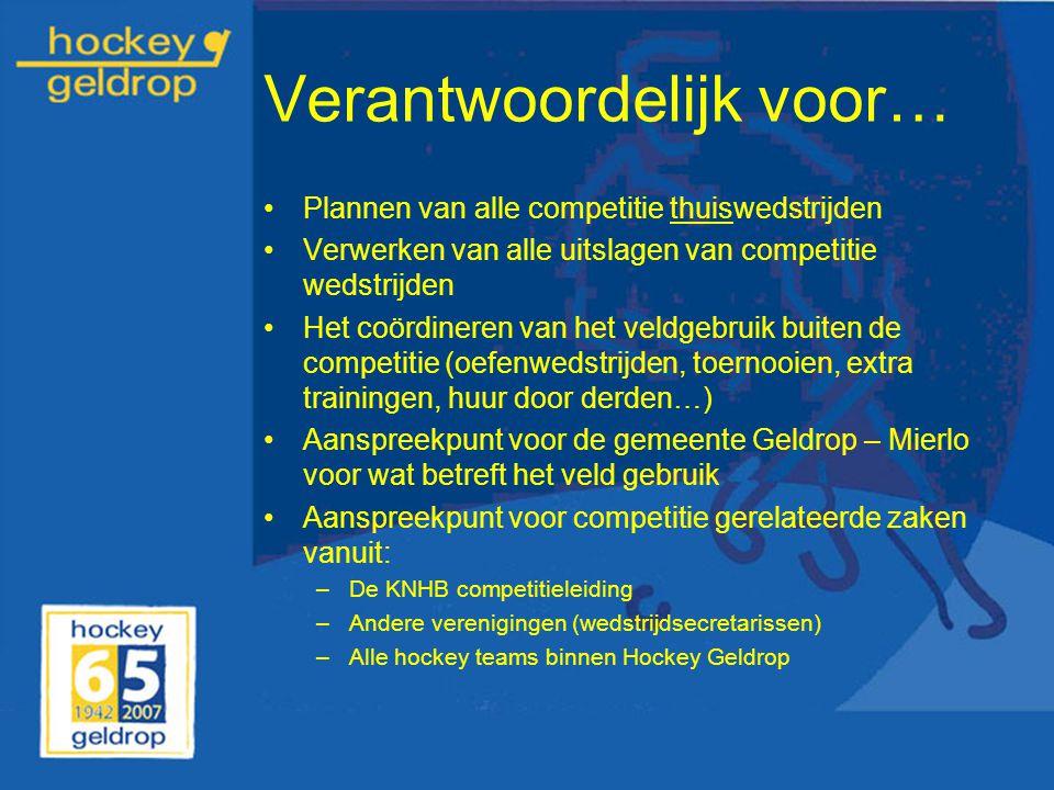 Verantwoordelijk voor… Plannen van alle competitie thuiswedstrijden Verwerken van alle uitslagen van competitie wedstrijden Het coördineren van het ve