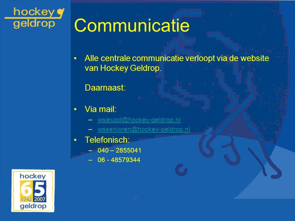 Communicatie Alle centrale communicatie verloopt via de website van Hockey Geldrop. Daarnaast: Via mail: –wsjeugd@hockey-geldrop.nlwsjeugd@hockey-geld