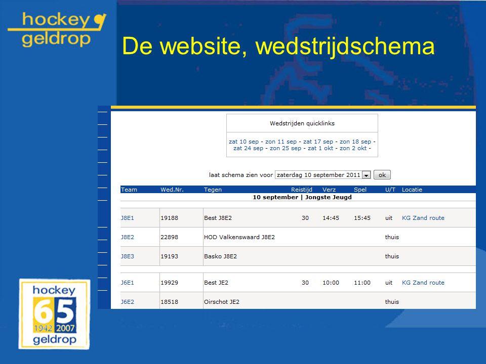 De website, wedstrijdschema
