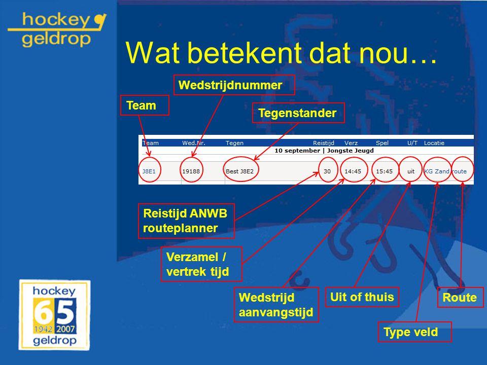 Wat betekent dat nou… Reistijd ANWB routeplanner Verzamel / vertrek tijd Wedstrijd aanvangstijd Uit of thuis Type veld Route TeamWedstrijdnummerTegens