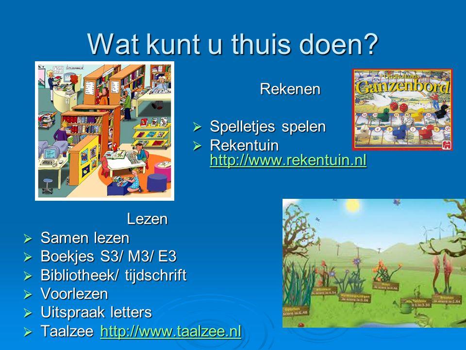Wat kunt u thuis doen? Lezen  Samen lezen  Boekjes S3/ M3/ E3  Bibliotheek/ tijdschrift  Voorlezen  Uitspraak letters  Taalzee http://www.taalze