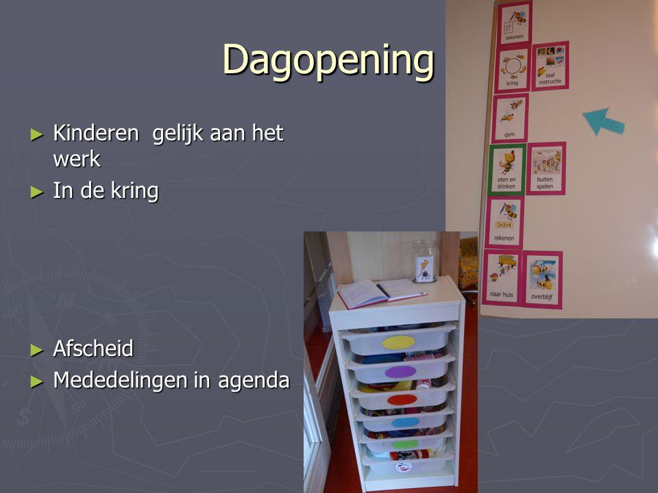 DagopeningDagopening ► Kinderen gelijk aan het werk ► In de kring ► Afscheid ► Mededelingen in agenda