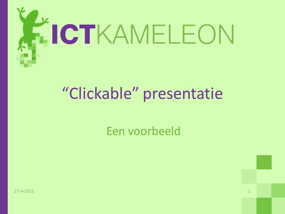 Inhoudsopgave 27-4-2011Voorbeeld clickable diapresentatie2 Interface Management Procesinrichting Productontwikkeling ERP implementatie … en meer … Klikken op deze knop keert altijd terug naar deze inhoudsopgave Klik op een van de onderwerpen om de deelpresentatie te zien