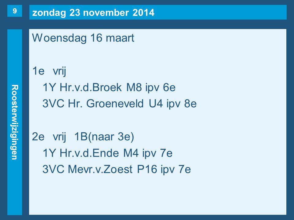 zondag 23 november 2014 Roosterwijzigingen Woensdag 16 maart 1evrij 1Y Hr.v.d.Broek M8 ipv 6e 3VC Hr.