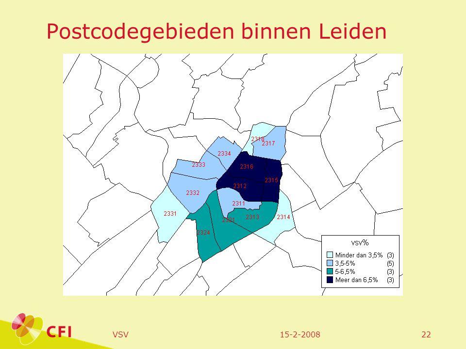 15-2-2008VSV22 Postcodegebieden binnen Leiden