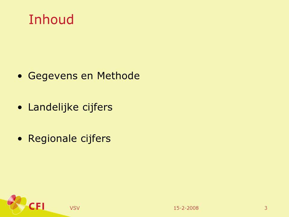15-2-2008VSV24 Voortgezet onderwijs regiolandelijk Aantal deelnemers op 1/10/2005 Aantal leerlingen uitstroom Aantal nieuwe vsv-ers Percentage vsv tov deelnemers Holland Rijnland2324844003911,7%2,0% Onderwijssoort brug401921150,4%0,6% LWOO1507337553,6%4,8% VMBO675919482003,0%3,1% HAVO41251085822,0%1,3% VWO68381009390,6% Leerjaar leerjaar 1475147350,7%1,0% leerjaar 2497364240,5%1,2% leerjaar 35140149611,2%1,3% leerjaar 4505322272314,6%4,9% leerjaar 52306954321,4%1,1% leerjaar 6102595980,8%