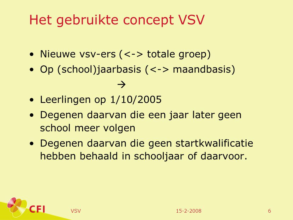 15-2-2008VSV6 Het gebruikte concept VSV Nieuwe vsv-ers ( totale groep) Op (school)jaarbasis ( maandbasis)  Leerlingen op 1/10/2005 Degenen daarvan die een jaar later geen school meer volgen Degenen daarvan die geen startkwalificatie hebben behaald in schooljaar of daarvoor.
