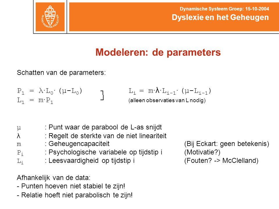 Modeleren: de parameters Dyslexie en het Geheugen Dynamische Systeem Groep: 15-10-2004 Schatten van de parameters: P 1 = λ ∙ L 0 ∙ (μ-L 0 )┐L i = m ∙λ