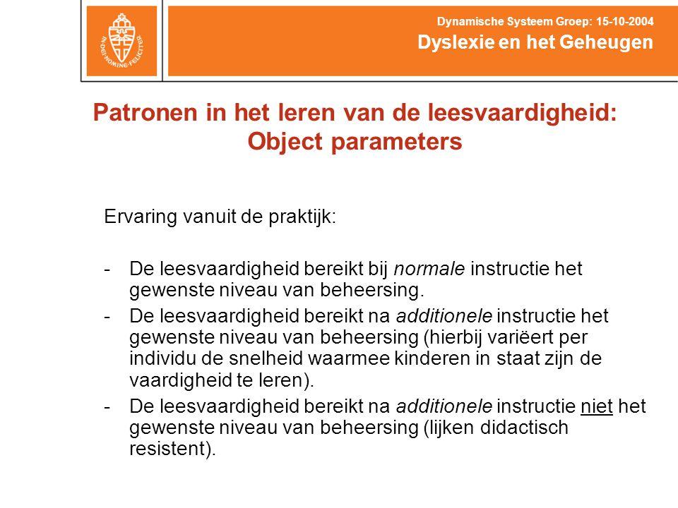 Patronen in het leren van de leesvaardigheid: Object parameters Dyslexie en het Geheugen Dynamische Systeem Groep: 15-10-2004 Ervaring vanuit de prakt