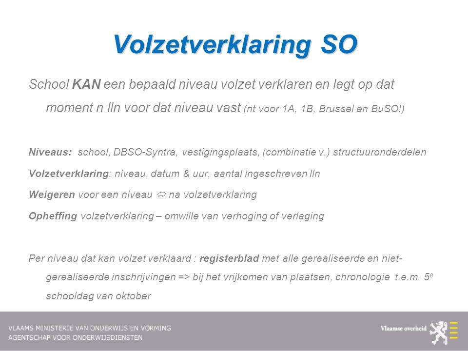 Volzetverklaring SO School KAN een bepaald niveau volzet verklaren en legt op dat moment n lln voor dat niveau vast (nt voor 1A, 1B, Brussel en BuSO!)