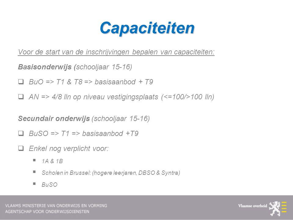 Capaciteiten Voor de start van de inschrijvingen bepalen van capaciteiten: Basisonderwijs (schooljaar 15-16)  BuO => T1 & T8 => basisaanbod + T9  AN