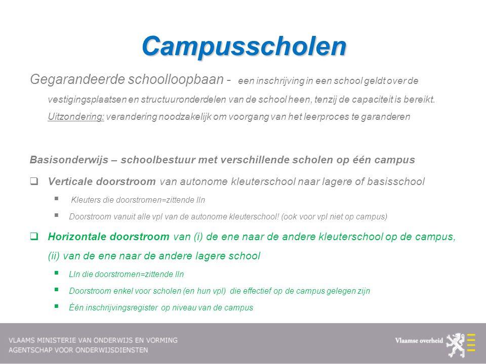 Campusscholen Gegarandeerde schoolloopbaan - een inschrijving in een school geldt over de vestigingsplaatsen en structuuronderdelen van de school heen
