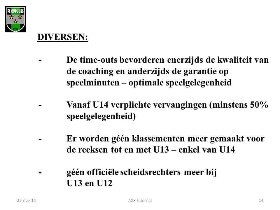 DIVERSEN: - De time-outs bevorderen enerzijds de kwaliteit van de coaching en anderzijds de garantie op speelminuten – optimale speelgelegenheid - Van