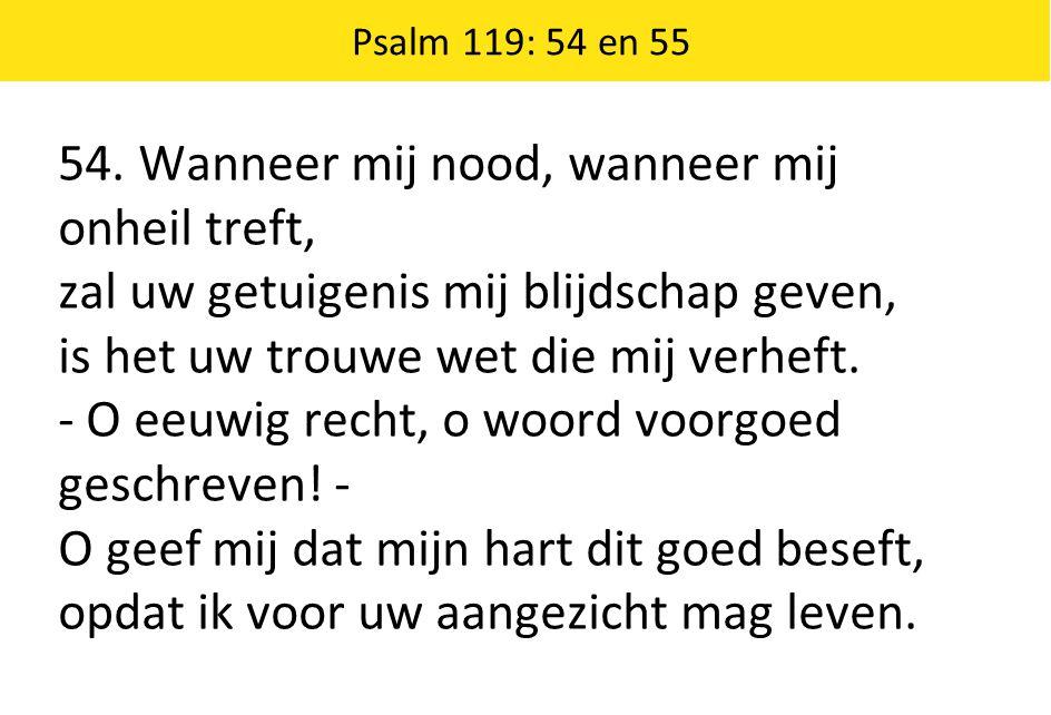 Psalm 119: 54 en 55 54. Wanneer mij nood, wanneer mij onheil treft, zal uw getuigenis mij blijdschap geven, is het uw trouwe wet die mij verheft. - O