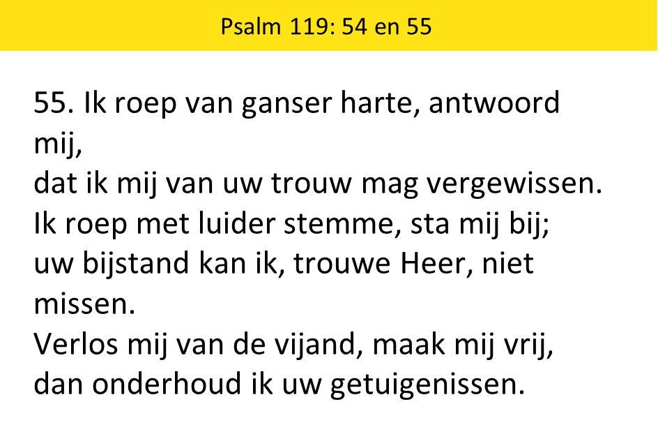 Psalm 119: 54 en 55 55. Ik roep van ganser harte, antwoord mij, dat ik mij van uw trouw mag vergewissen. Ik roep met luider stemme, sta mij bij; uw bi