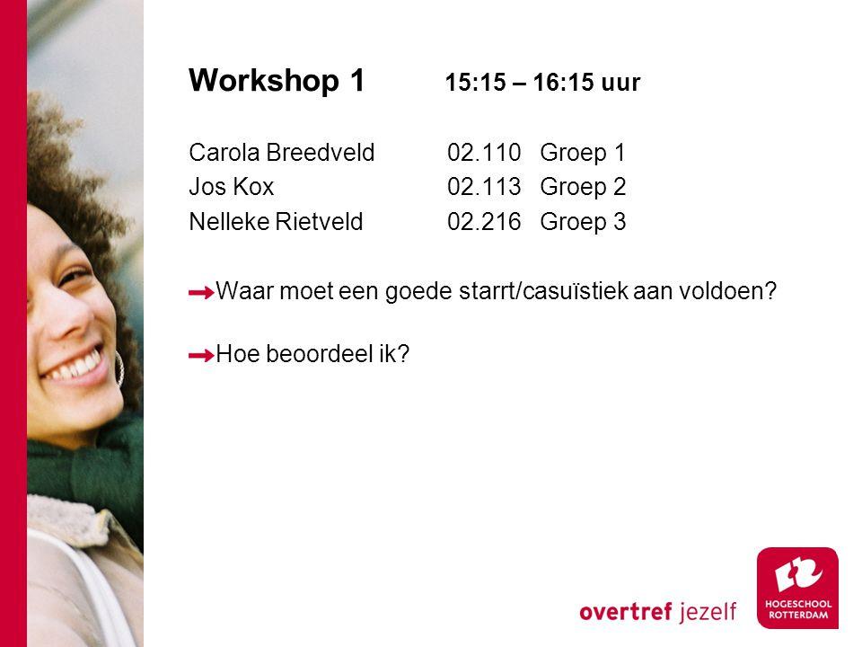 Workshop 1 15:15 – 16:15 uur Carola Breedveld 02.110 Groep 1 Jos Kox02.113 Groep 2 Nelleke Rietveld02.216 Groep 3 Waar moet een goede starrt/casuïstiek aan voldoen.