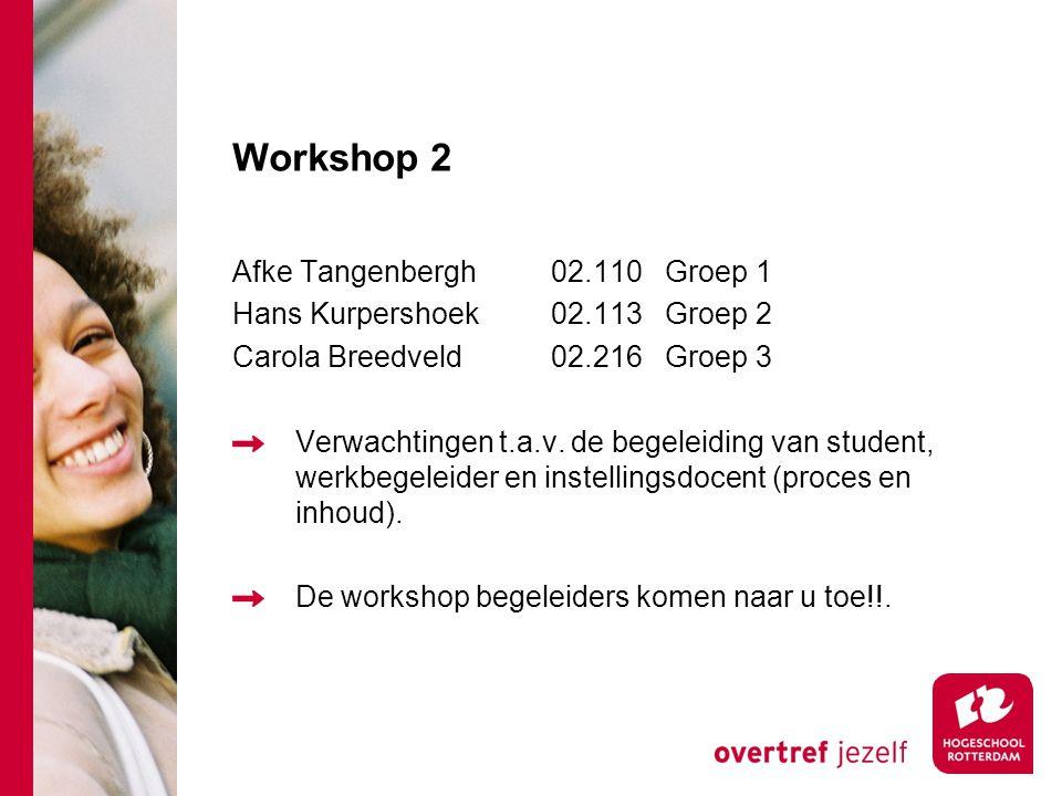 Workshop 2 Afke Tangenbergh02.110 Groep 1 Hans Kurpershoek02.113 Groep 2 Carola Breedveld 02.216 Groep 3 Verwachtingen t.a.v.