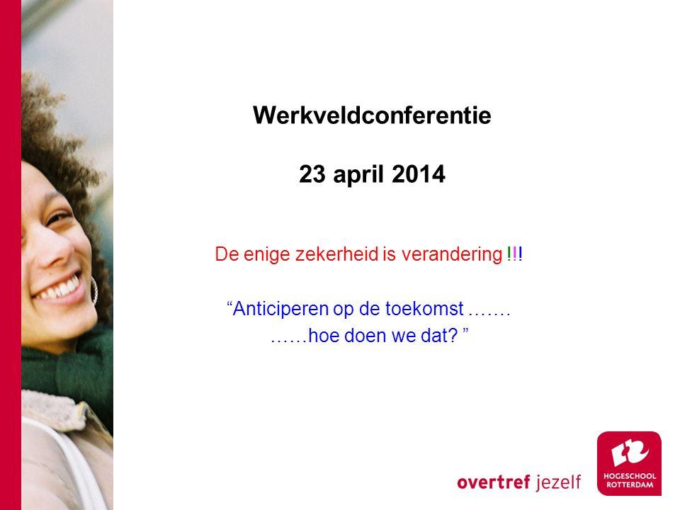 Werkveldconferentie 23 april 2014 De enige zekerheid is verandering !!.