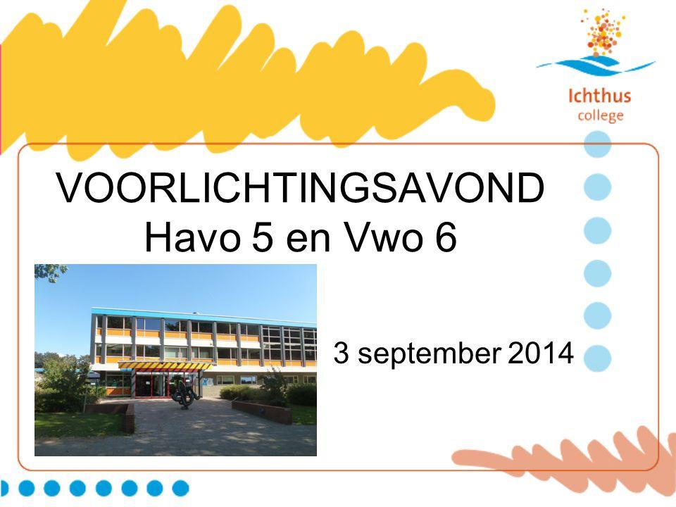 VOORLICHTINGSAVOND Havo 5 en Vwo 6 3 september 2014