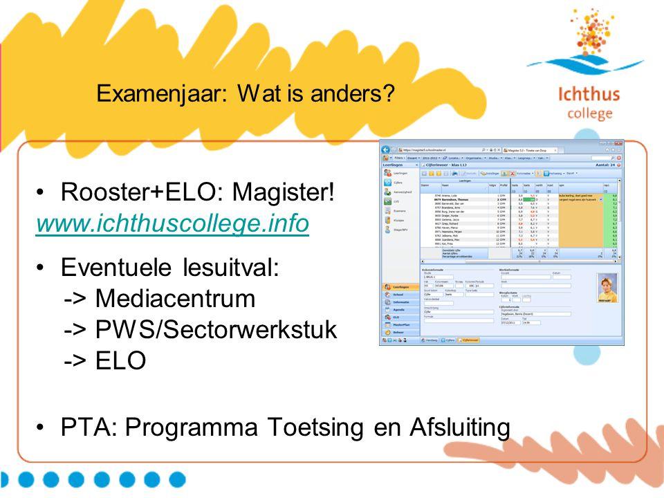 Examenjaar: Wat is anders? Rooster+ELO: Magister! www.ichthuscollege.info Eventuele lesuitval: -> Mediacentrum -> PWS/Sectorwerkstuk -> ELO PTA: Progr