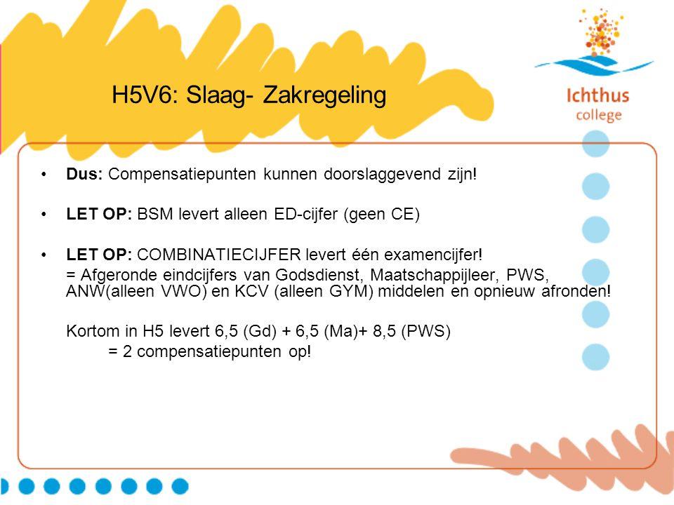H5V6: Slaag- Zakregeling Dus: Compensatiepunten kunnen doorslaggevend zijn! LET OP: BSM levert alleen ED-cijfer (geen CE) LET OP: COMBINATIECIJFER lev