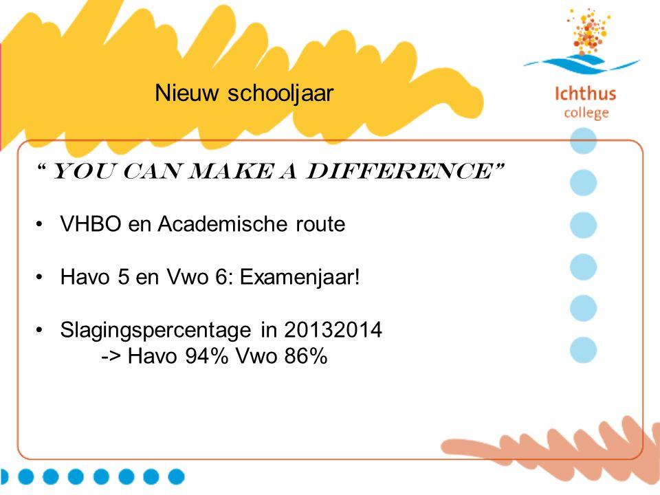 """Nieuw schooljaar """"You can make a DIFFERENCE"""" VHBO en Academische route Havo 5 en Vwo 6: Examenjaar! Slagingspercentage in 20132014 -> Havo 94% Vwo 86%"""