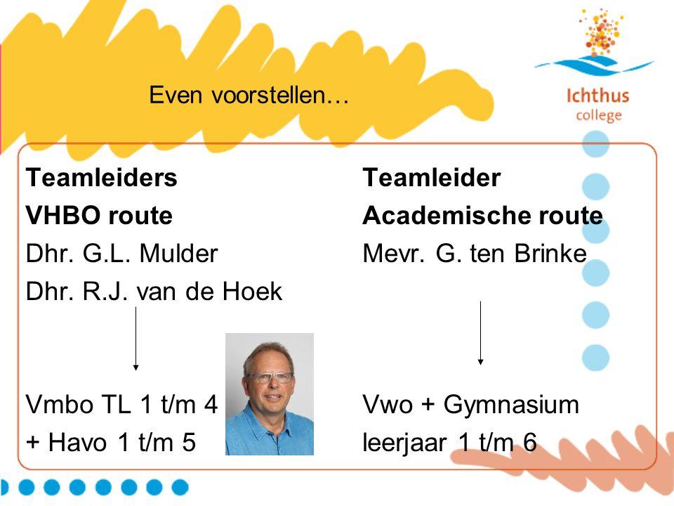 Even voorstellen… Teamleiders Teamleider VHBO route Academische route Dhr. G.L. MulderMevr. G. ten Brinke Dhr. R.J. van de Hoek Vmbo TL 1 t/m 4Vwo + G