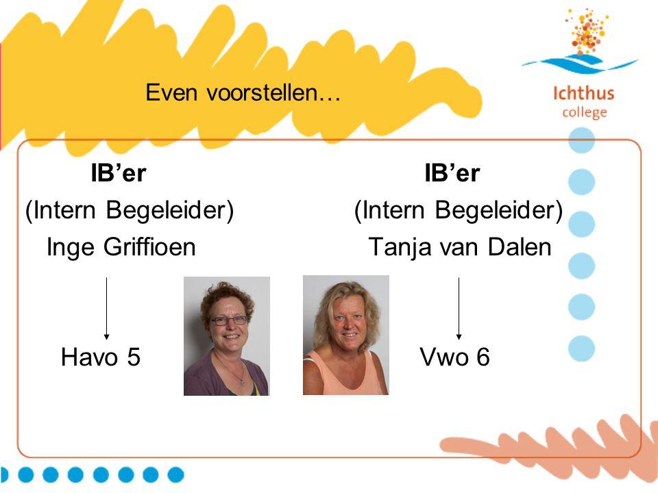 Even voorstellen… IB'er (Intern Begeleider) Inge Griffioen Tanja van Dalen Havo 5 Vwo 6