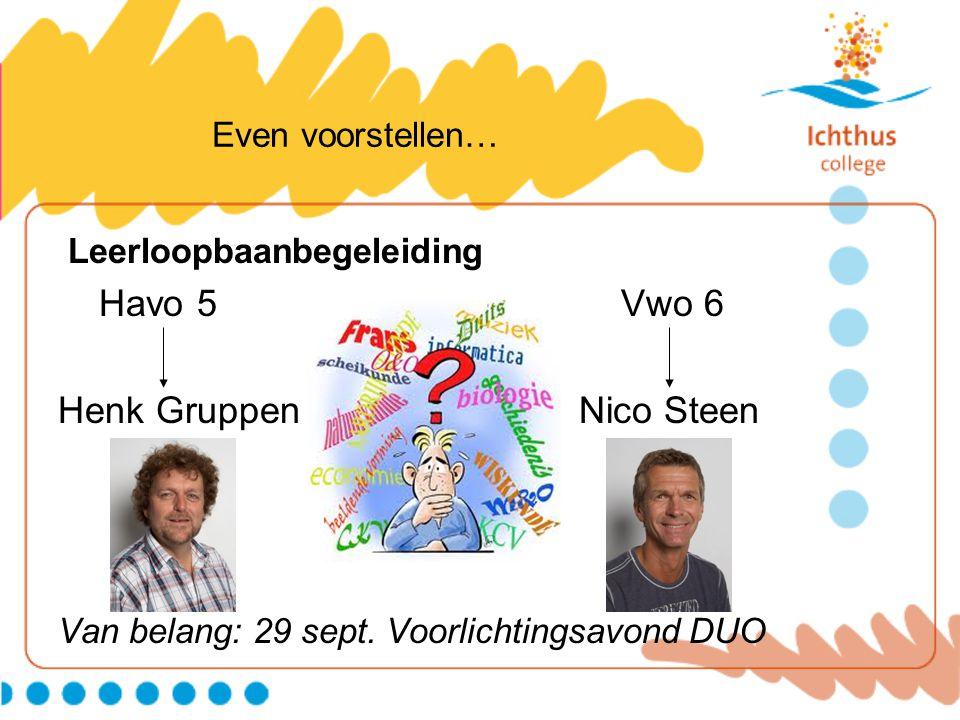 Even voorstellen… Leerloopbaanbegeleiding Havo 5 Vwo 6 Henk Gruppen Nico Steen Van belang: 29 sept. Voorlichtingsavond DUO