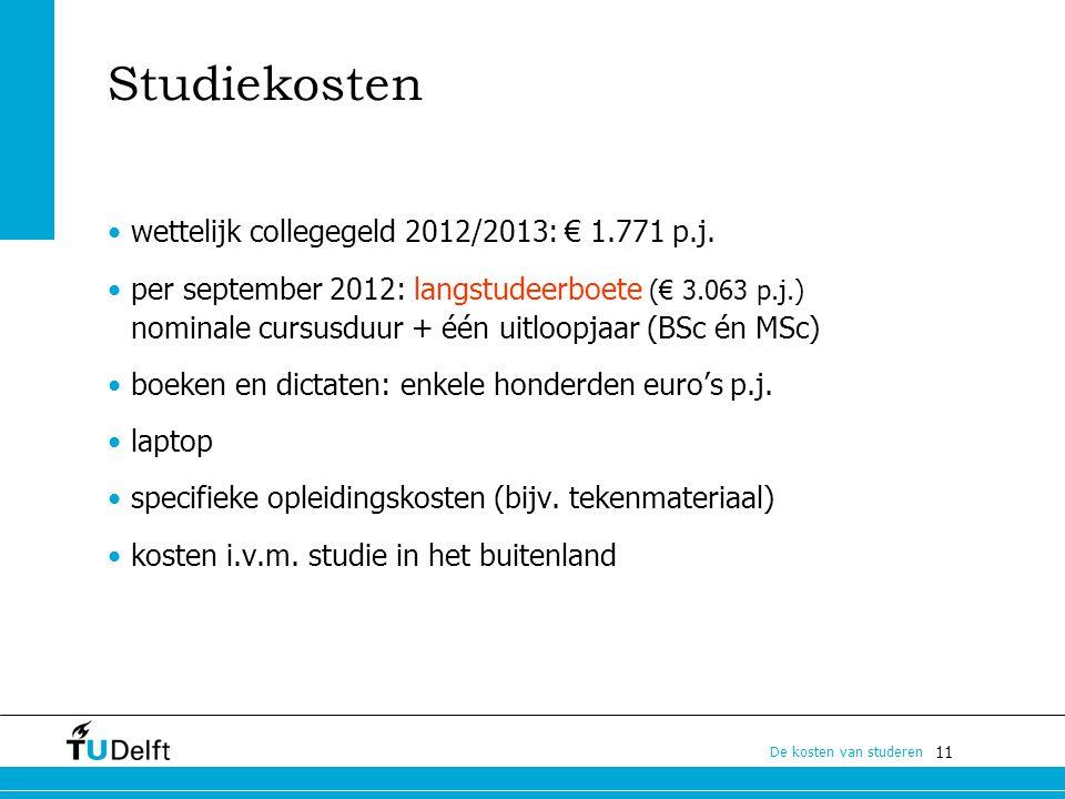 11 De kosten van studeren Studiekosten wettelijk collegegeld 2012/2013: € 1.771 p.j. per september 2012: langstudeerboete (€ 3.063 p.j.) nominale curs