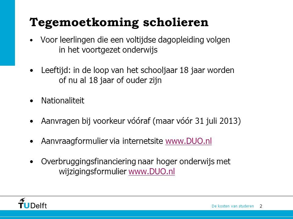 13 De kosten van studeren Verzekeringen zorgverzekering premies vanaf ca.
