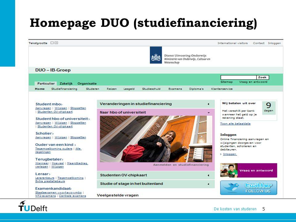 5 De kosten van studeren Homepage DUO (studiefinanciering)