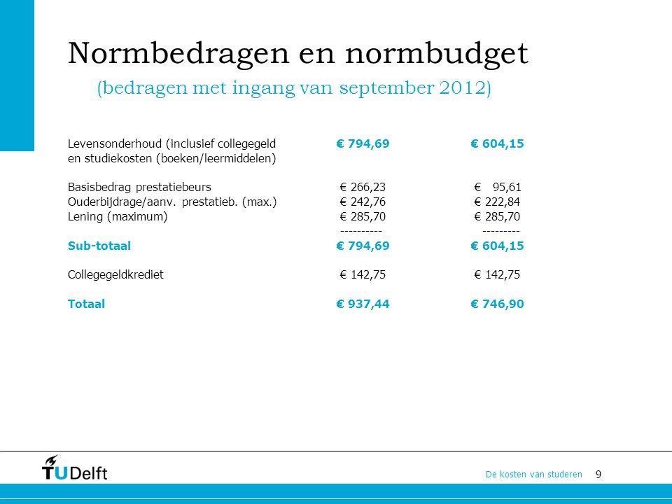 9 De kosten van studeren Normbedragen en normbudget Levensonderhoud (inclusief collegegeld € 794,69 € 604,15 en studiekosten (boeken/leermiddelen) Bas