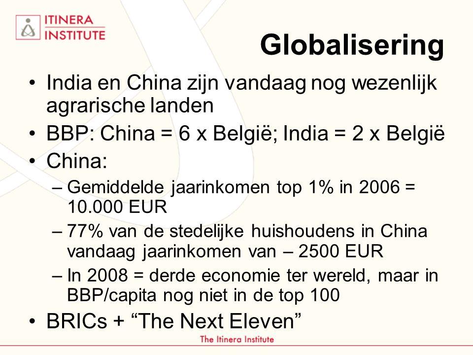 Globalisering India en China zijn vandaag nog wezenlijk agrarische landen BBP: China = 6 x België; India = 2 x België China: –Gemiddelde jaarinkomen top 1% in 2006 = 10.000 EUR –77% van de stedelijke huishoudens in China vandaag jaarinkomen van – 2500 EUR –In 2008 = derde economie ter wereld, maar in BBP/capita nog niet in de top 100 BRICs + The Next Eleven