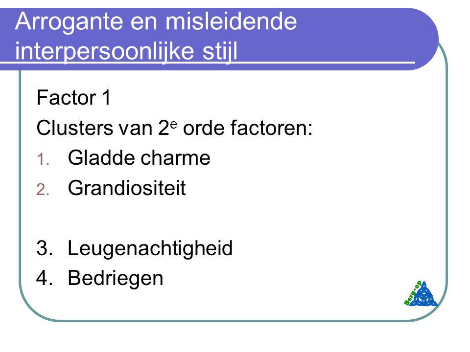 Arrogante en misleidende interpersoonlijke stijl Factor 1 Clusters van 2 e orde factoren: 1.