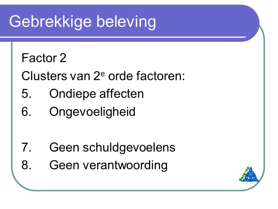 Gebrekkige beleving Factor 2 Clusters van 2 e orde factoren: 5.