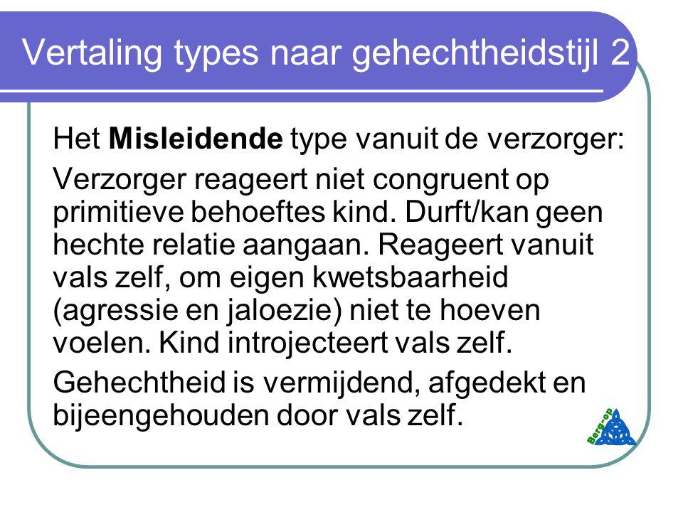 Vertaling types naar gehechtheidstijl 2 Het Misleidende type vanuit de verzorger: Verzorger reageert niet congruent op primitieve behoeftes kind.