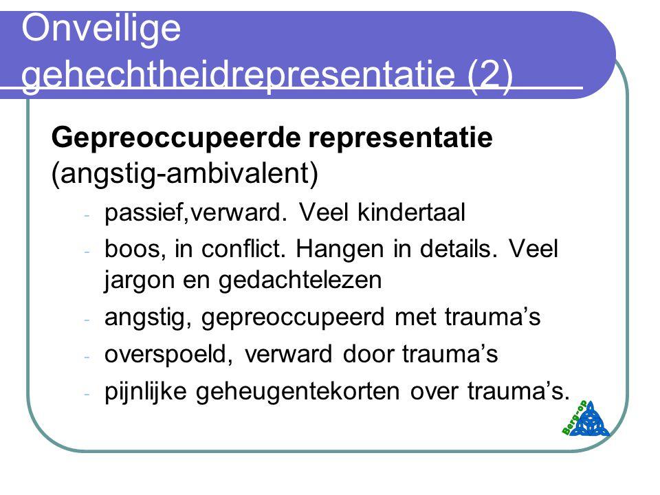 Onveilige gehechtheidrepresentatie (2) Gepreoccupeerde representatie (angstig-ambivalent) - passief,verward.