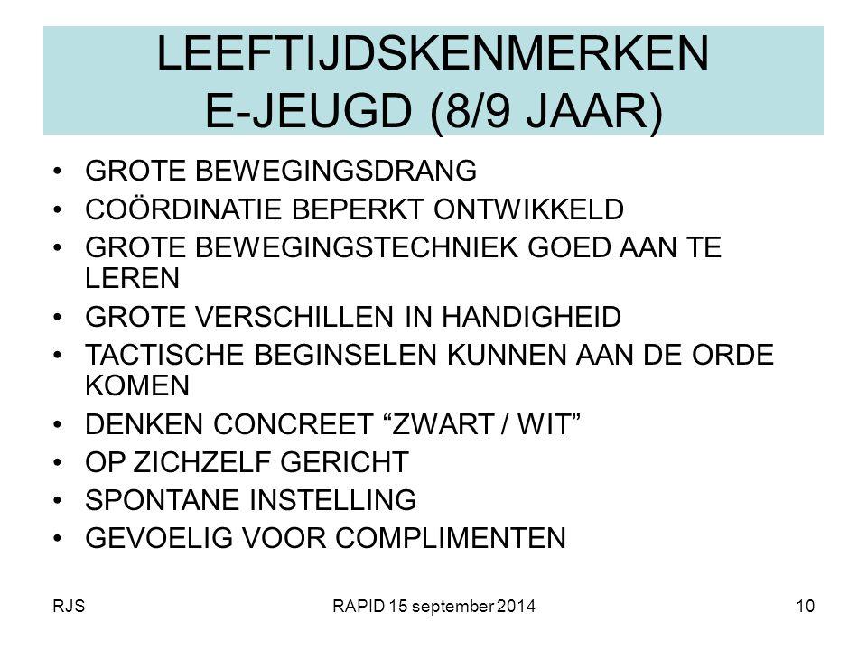 RJSRAPID 15 september 201410 LEEFTIJDSKENMERKEN E-JEUGD (8/9 JAAR) GROTE BEWEGINGSDRANG COÖRDINATIE BEPERKT ONTWIKKELD GROTE BEWEGINGSTECHNIEK GOED AA